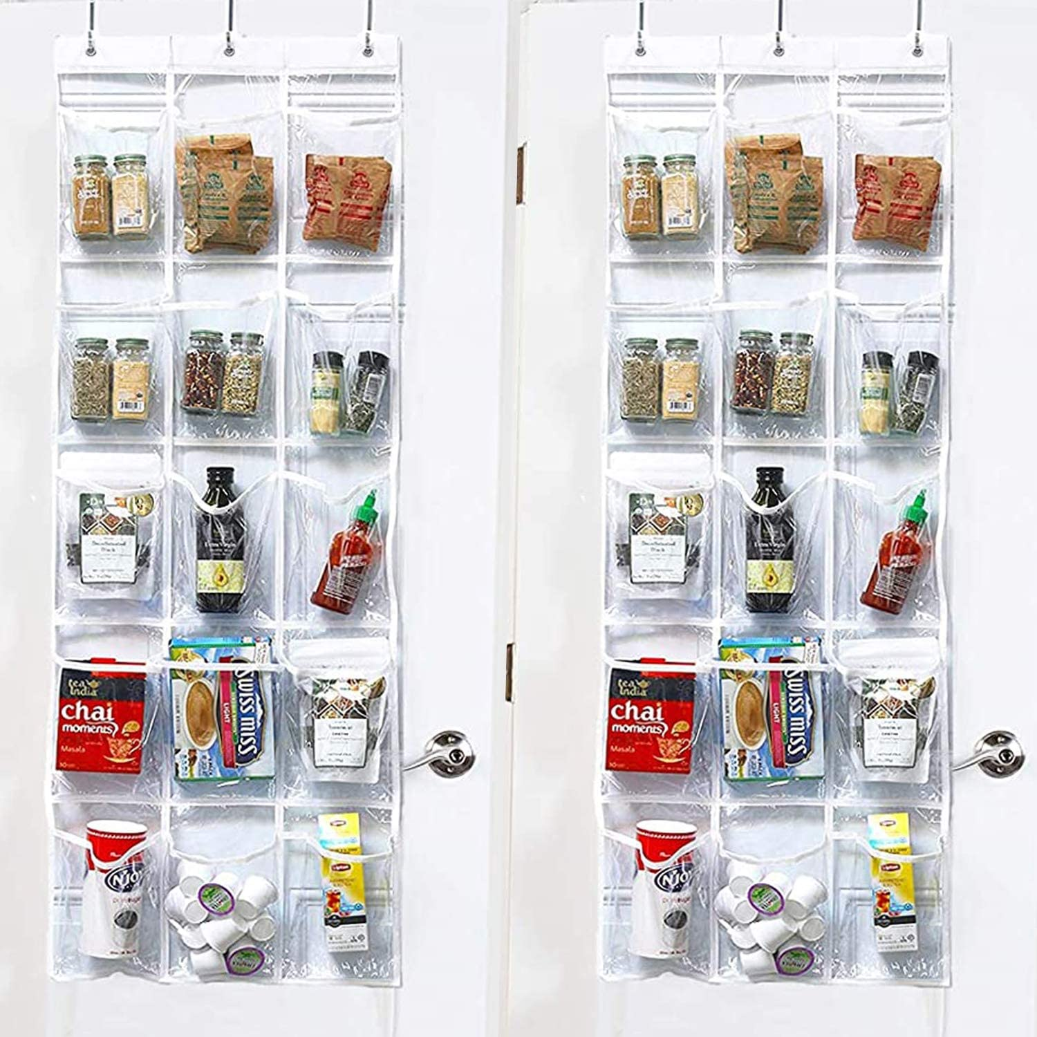 FiveRen 2 Pieces Over-the-Door Hanging Pantry Organizer and Kitchen Storage Unit with 15 Crystal-Clear Vinyl Pockets and 3 Metal Hooks