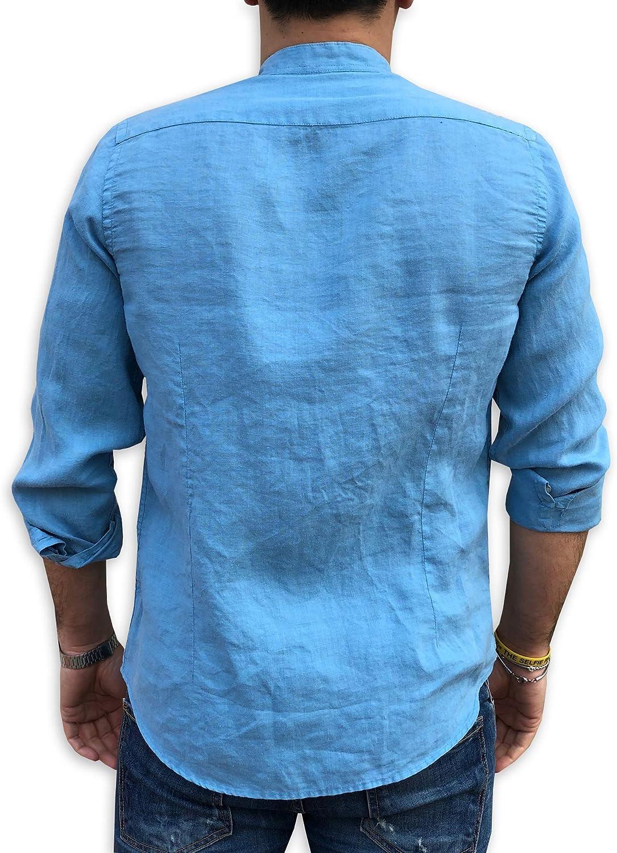 S M A20 CAMICIE /& dintorni Camicia Puro Lino Coreana TG XL XXL L Uomo Manica Lunga Art Slim 3XL