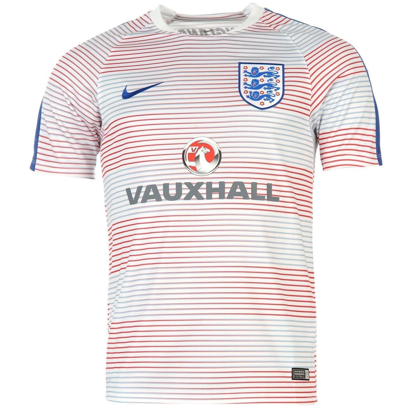 Camiseta de precalentamiento de la selección inglesa de fútbol para hombre, color blanco y azul, Medium: Amazon.es: Deportes y aire libre