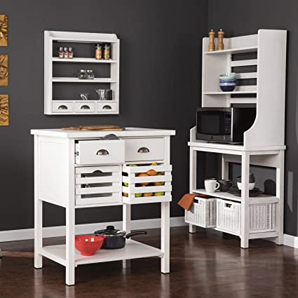 Furniture HotSpot U2013 Bakers Rack, Kitchen Island, And Spice Rack Set U2013 White  Stain