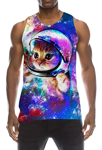 9dc93b386deab Funniest Big and Tall Tank Top 80s Fitted Physique Nerd Shirt Turquoise  Galaxy Nebular Astronaut Cute
