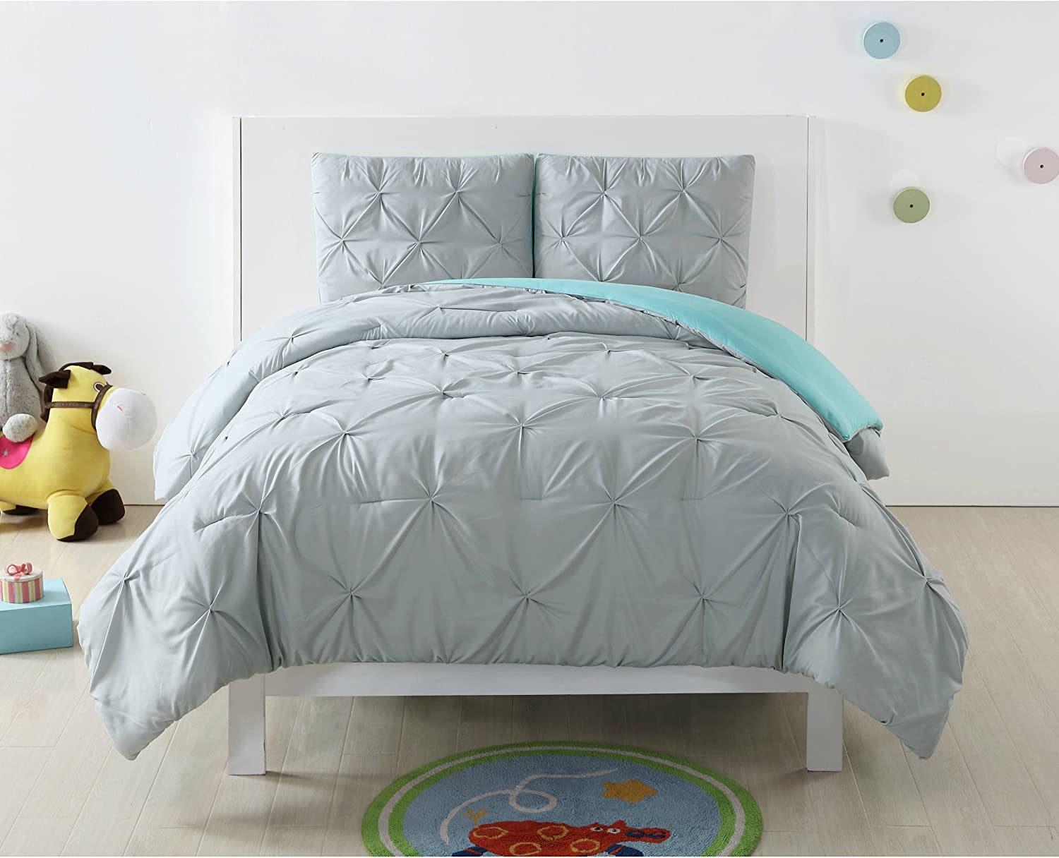 Amazon.com: PH 22 Piece Turquoise/Silver Grey Twin XL Comforter Set