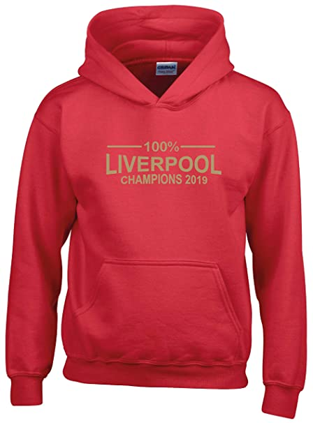 Liverpool Champions League 2019 Winners Large Cup Design Hoodie Kids