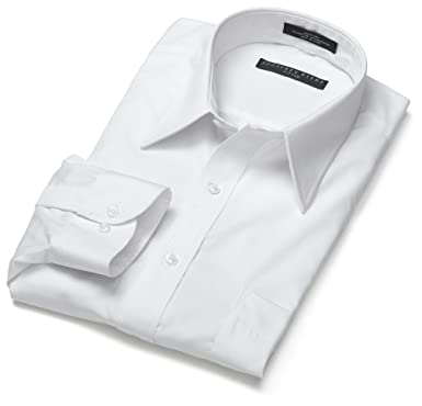 """5e785793bf9b Geoffrey Beene Men's Long Sleeve Wrinkle Free Fitted Broadcloth Solid Shirt,  White, 15.5"""""""
