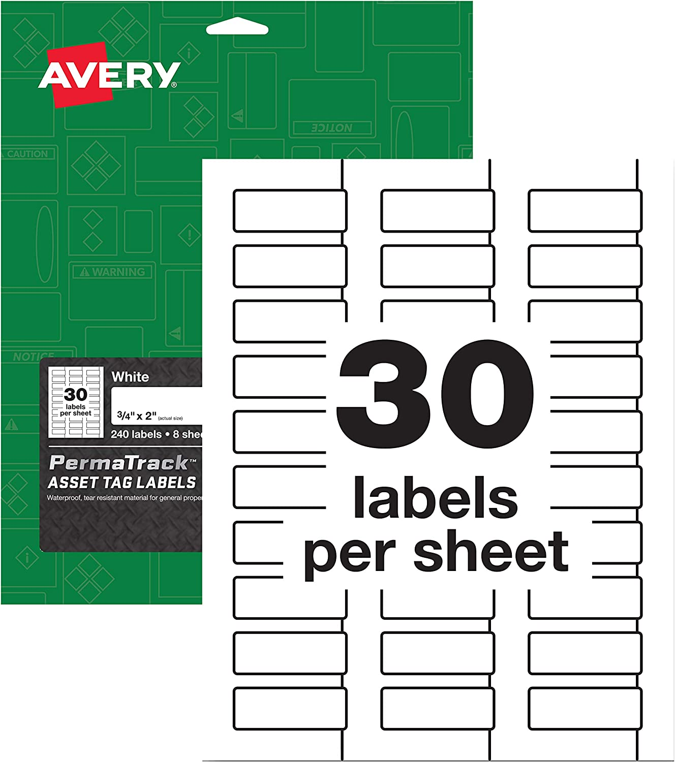 """AVERY PermaTrack Durable White Asset Tag Labels, 3/4"""" x 2"""", 240 Labels (61526)"""