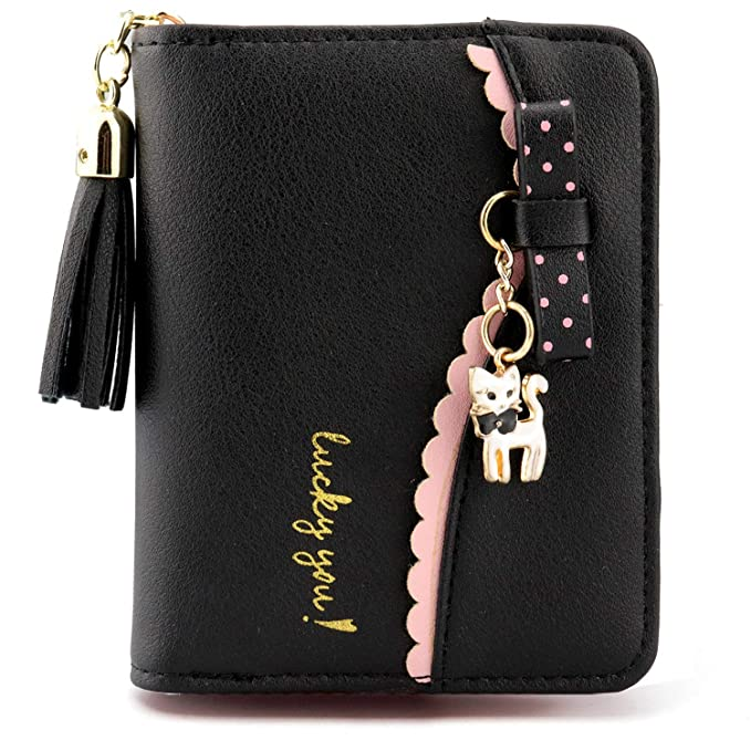 What Is Leather Made Of >> Kinsoland Womens Cute Small Wallet Kitten Charm Pu Leather Card Holder Organizer Girls Coin Purse With Tassel Zipper