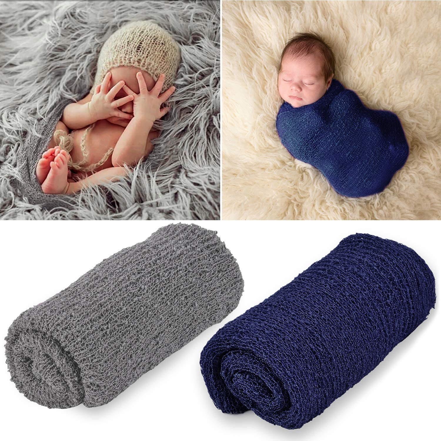 Photography Props,Aniwon 2 Pcs Baby Photo Long Ripple Wrap Blanket for Newborn