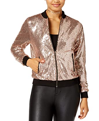 99b7b651 Amazon.com: The Edit By Seventeen Juniors' Sequined Bomber Jacket ...