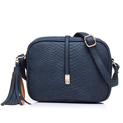 4818a592ac5 Small Crossbody Bags for Women Ladies Faux Leather Mini Shoulder Bag with  Tassel Purse Blue