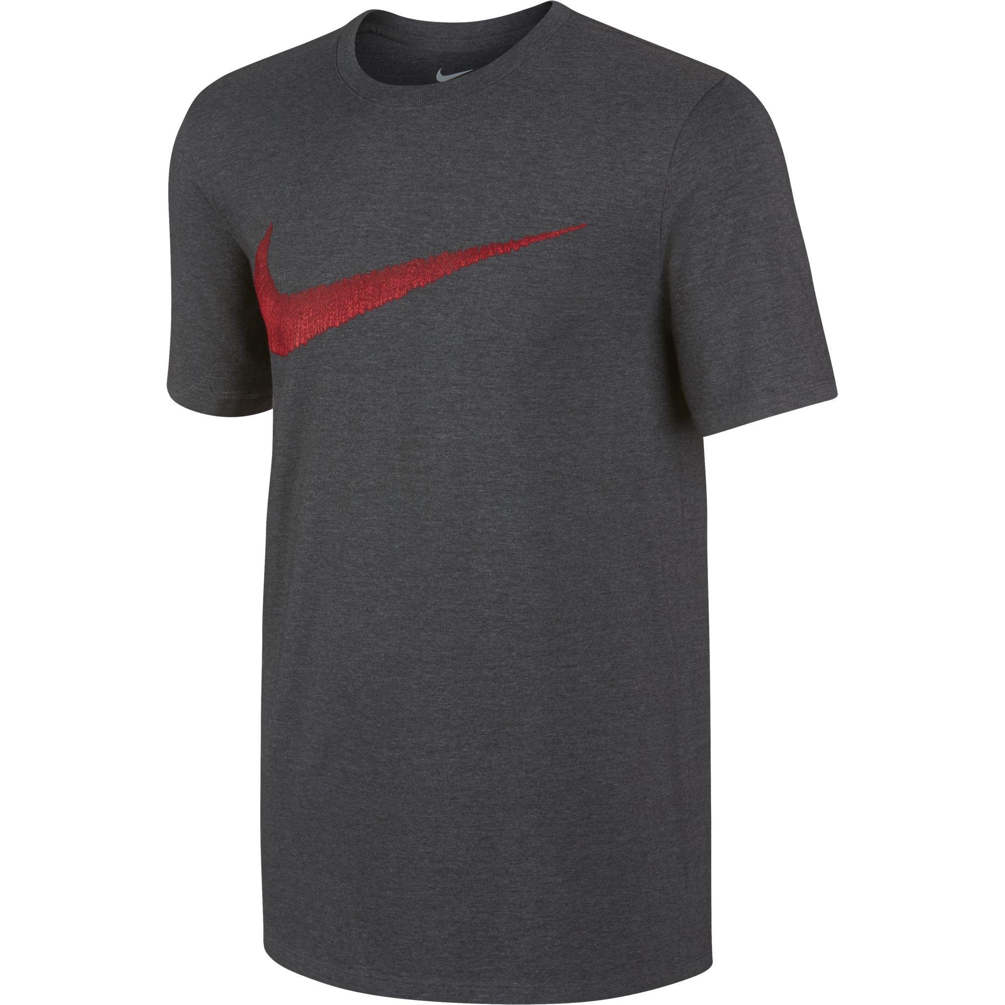 NIKE Sportswear Men's Hangtag Swoosh Tee, Charcoal Heather/University Red, Small