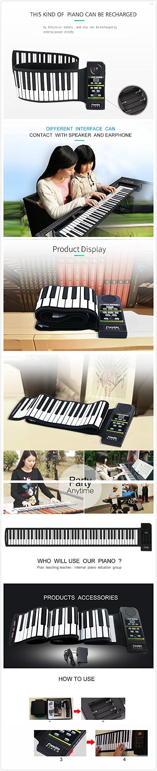 YARUIFANSEN 88 Keys Portable Digital Keyboard and Sustain Pedal of Soft Mini roll up Piano by YARUIFANSEN