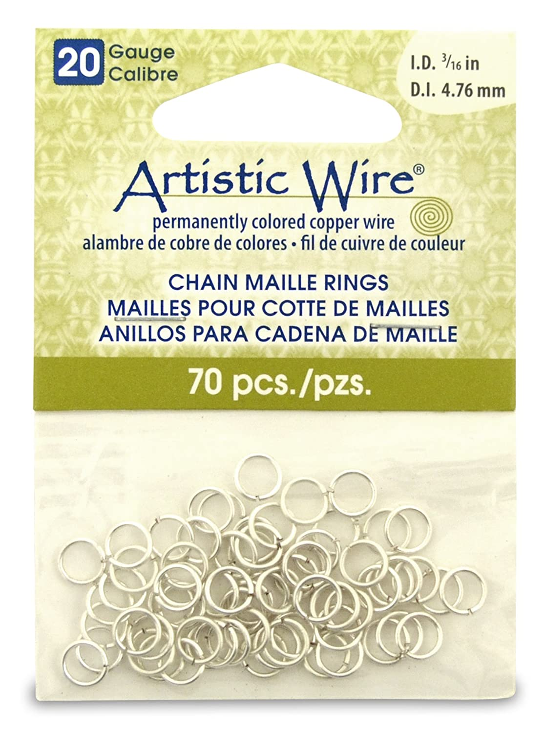 Artistic Wire Beadalon 3/16-inch 70 Piece 20-Gauge Non-Tarnish Chain Maille Rings, Silver A314-20S-10-08