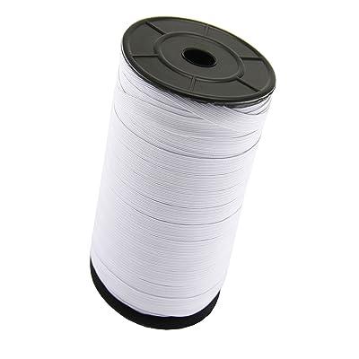 "MJMP Baraded Elastic Cord/Elastic Band/Elastic Rope/Bungee/White Heavy Stretch Knit Elastic Spool(White)/Bedspread Band (White, 1/4"" 144Yard): Arts, Crafts & Sewing"