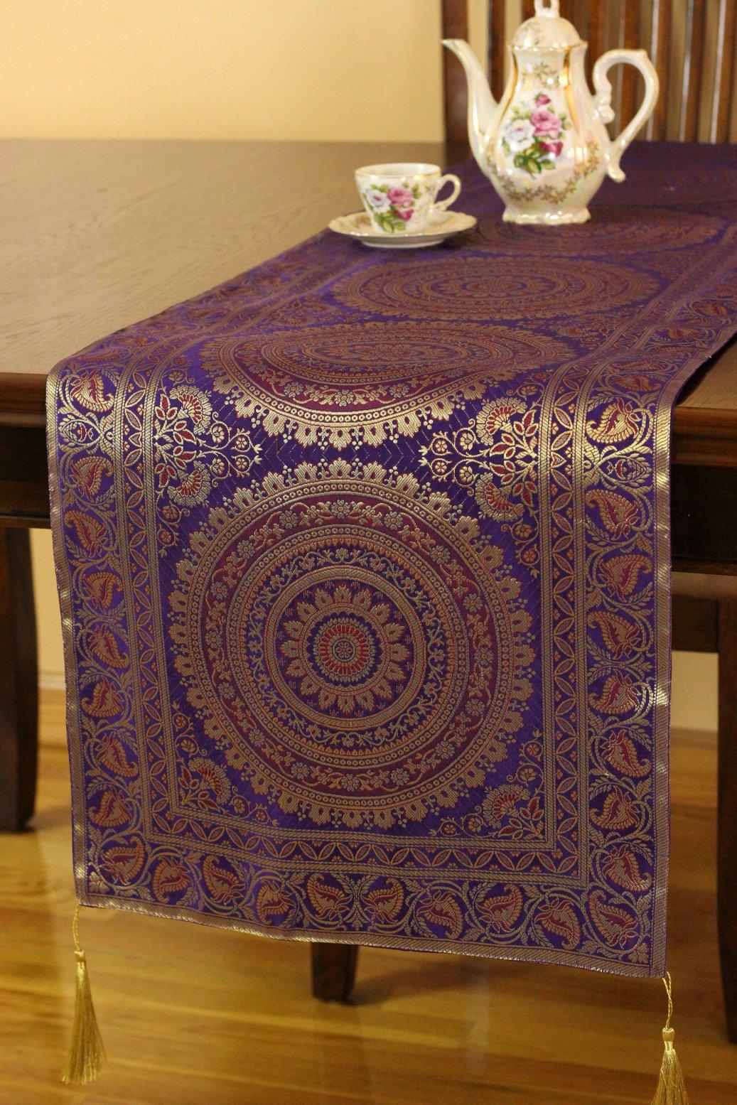 Exotic Oriental Table Runner (Plum Purple, 70'' X 16'')