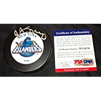 $52 » John Spano Signed New York Islanders Fisherman Logo Puck Psa Coa W55676 - Autographed NHL Pucks