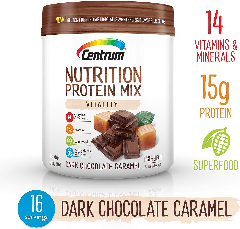 Centrum Nutrition Protein Powder Mix Vitality, Dark Chocolate Caramel Flavor | Gluten Free, Vitamins, Minerals, Superfood & Antioxidants | 19.7 Oz, 16 Servings