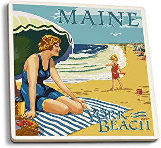 product image for Lantern Press York Beach, Maine - Beach Scene (Set of 4 Ceramic Coasters - Cork-Backed, Absorbent)