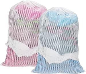 Senneny 2 Pack Mesh Laundry Bag 24 x 36 inches Large Sturdy Mesh Wash Bags Heavy Duty Drawstring Bag Ideal Machine Washable Nylon Laundry Bag for Delicates College Dorm Apartment Factories Travel