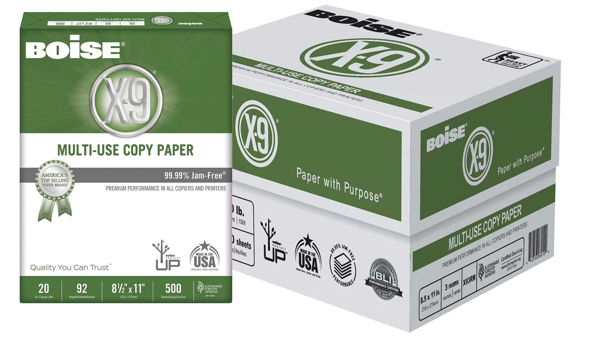 BOISE X-9 Multi-Use Copy Paper, 8.5 x 11, 92 Bright White, 20 lb, 3 ream carton (1,500 Sheets)