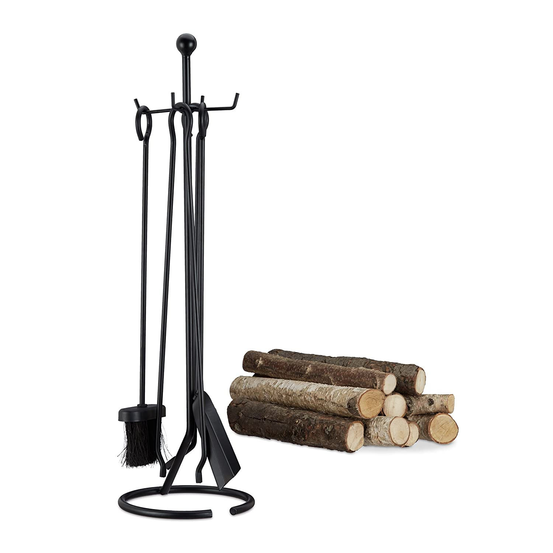 Relaxdays Ensemble serviteur de cheminé e 5 piè ces accessoire acier pince pelle balai tisonnier, noir 10022293