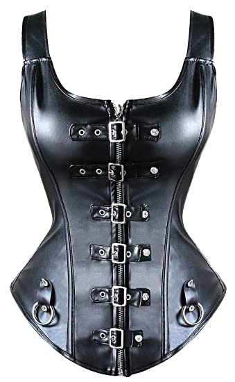 29a2d1f790 MISS MOLY Steampunk Rock Faux Leather Buckle-up Corset Bustier with Zipper  Basque Top Black