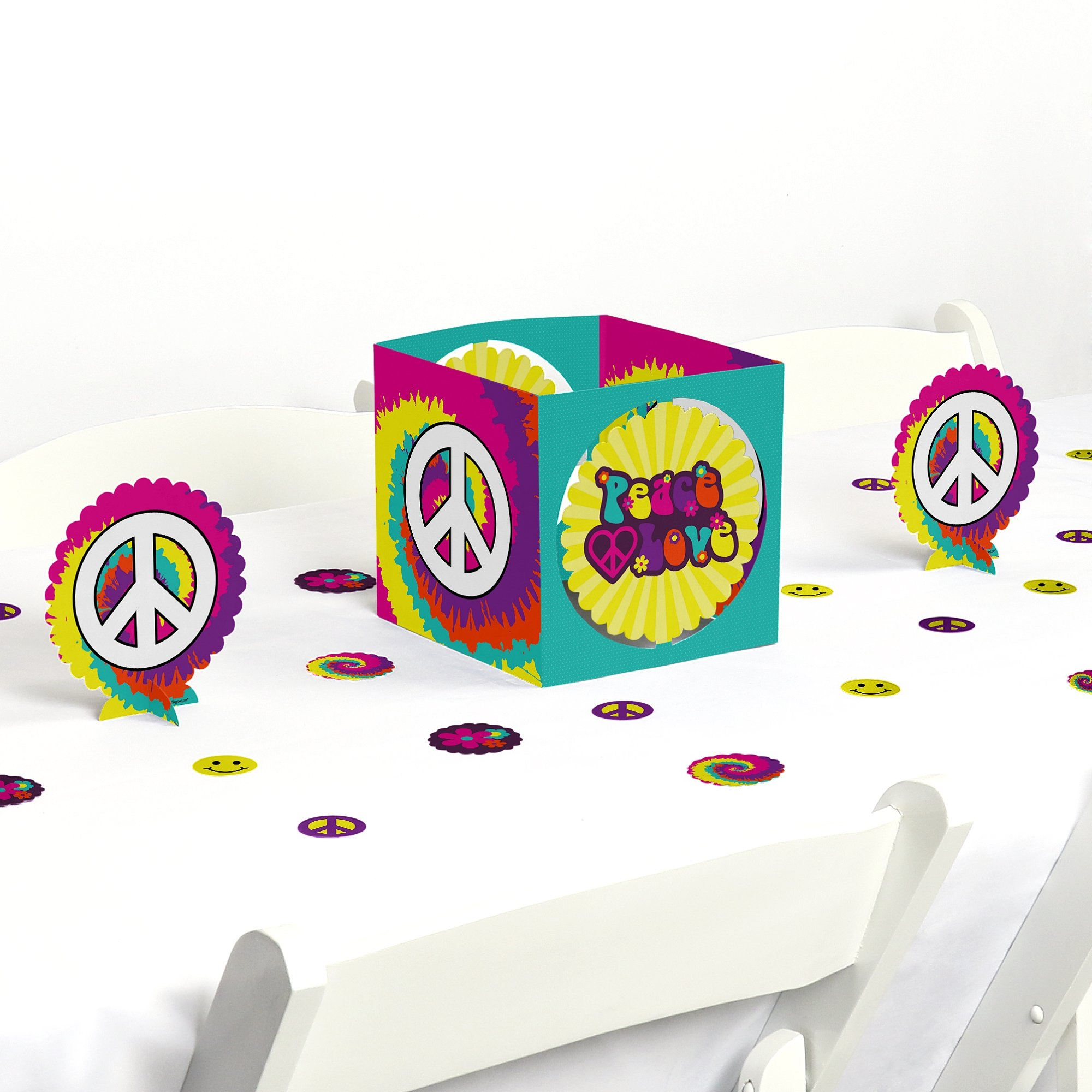 Big Dot of Happiness 60's Hippie - 1960s Groovy Party Centerpiece & Table Decoration Kit