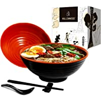 4 set (16 piece) Ramen Bowl Set, Asian Japanese Style with Spoons Chopsticks and Stands, Restaurant Quality Melamine…