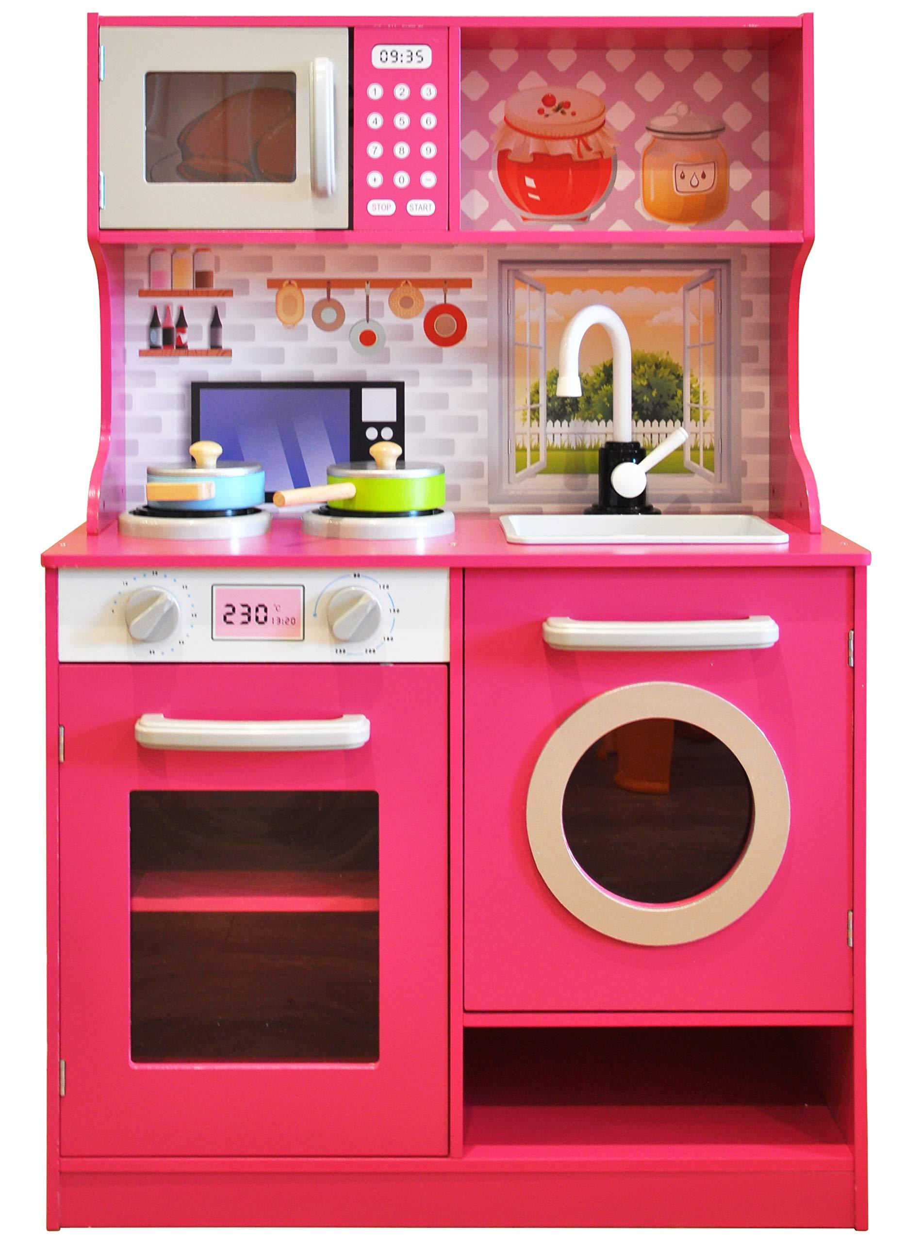 Rainbow Sophia Vibrant Wood Kids Play Kitchen with Cookware Accessories (Fuchsia)