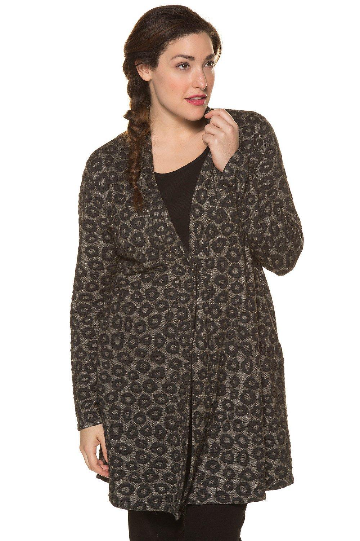 Ulla Popken Women's Plus Size Jacquard Jersey Jacket Grey Melange Multi 28/30 713753 14