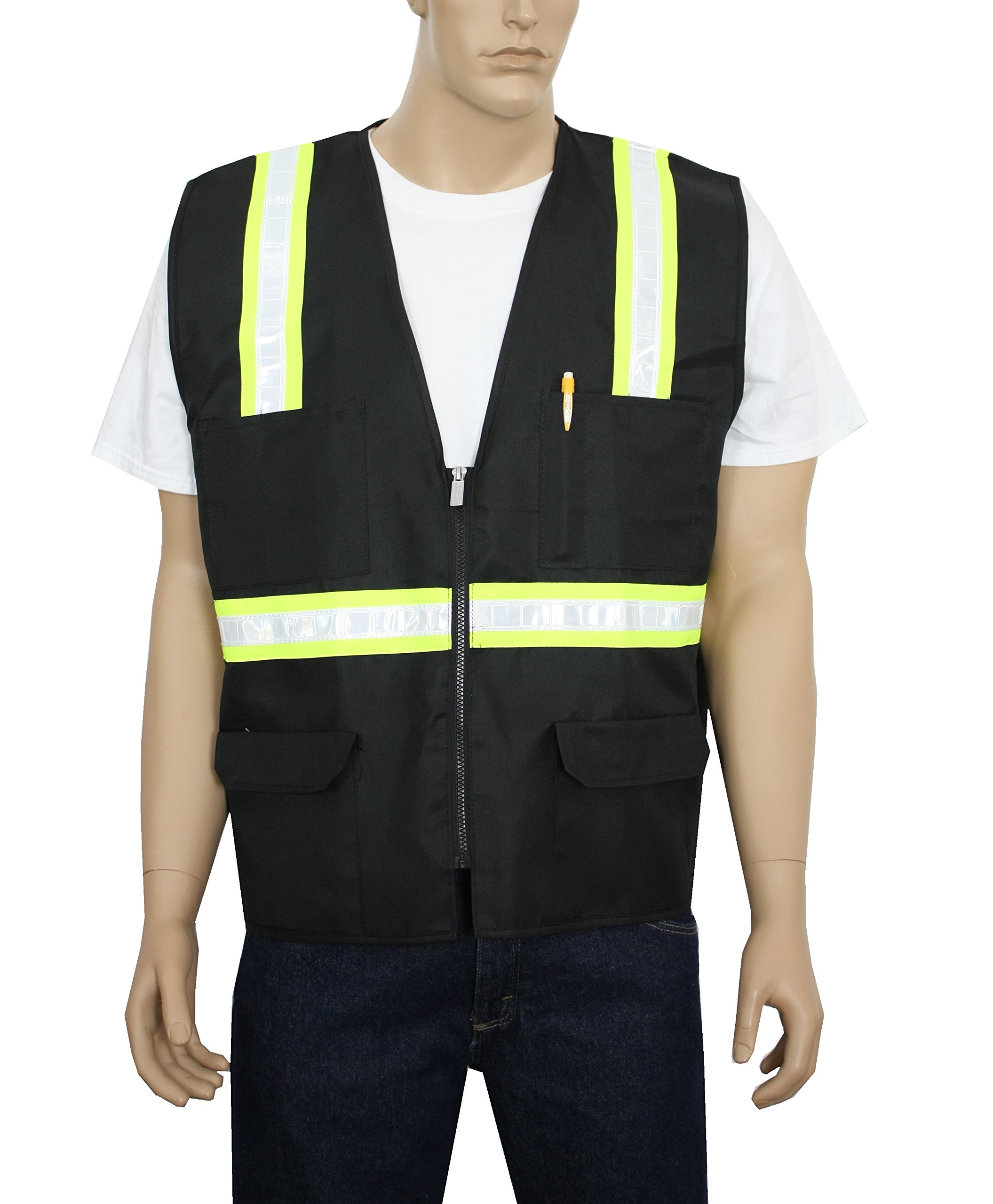 Safety Depot Safety Vest High Visibility Reflective Tape with 4 Lower Pockets, 2 Chest Pockets with Pen Dividers 8038-BK (Black, Medium)