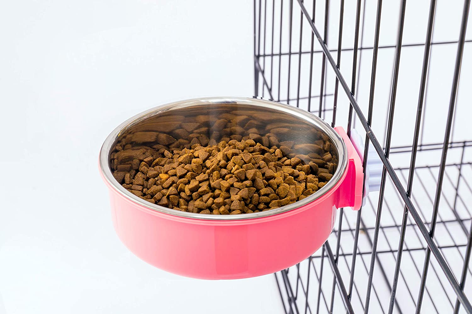 Flymoqi Crate Dog Bowl,Stainless Steel Removable Water Food Feeder Bows Cage Coop Cup for Dogs,Cats,Birds,Small Animals,20 oz (Pink)