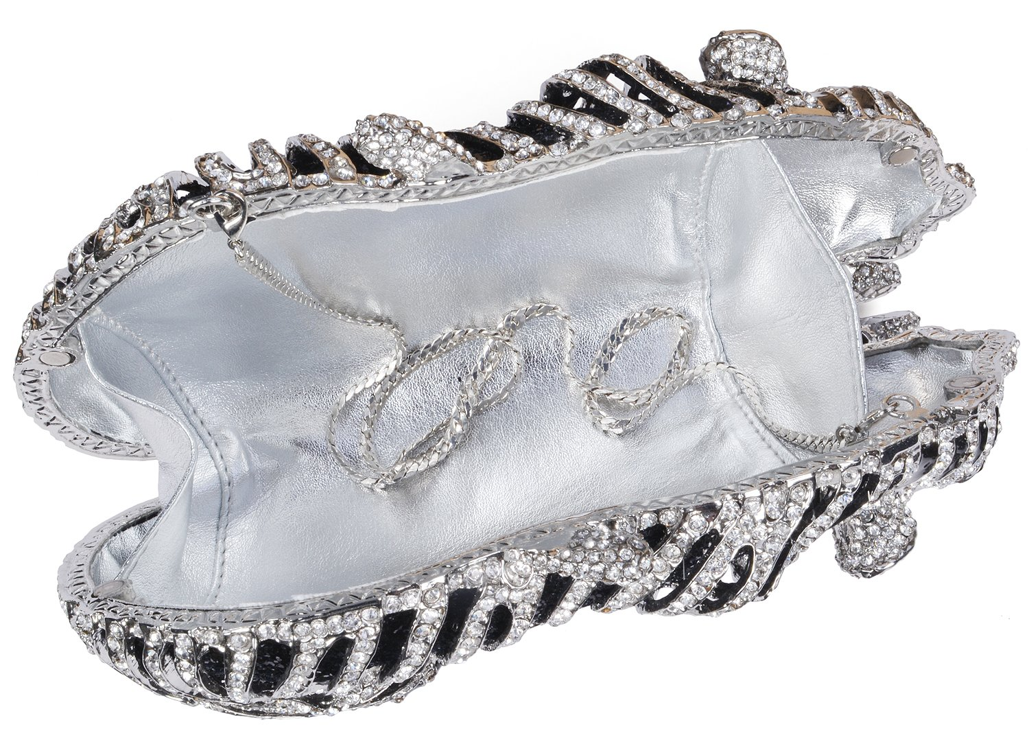 mossmon Luxury Crystal Clutches For Women Tiger Evening Bag (Silver) by Mossmon (Image #4)