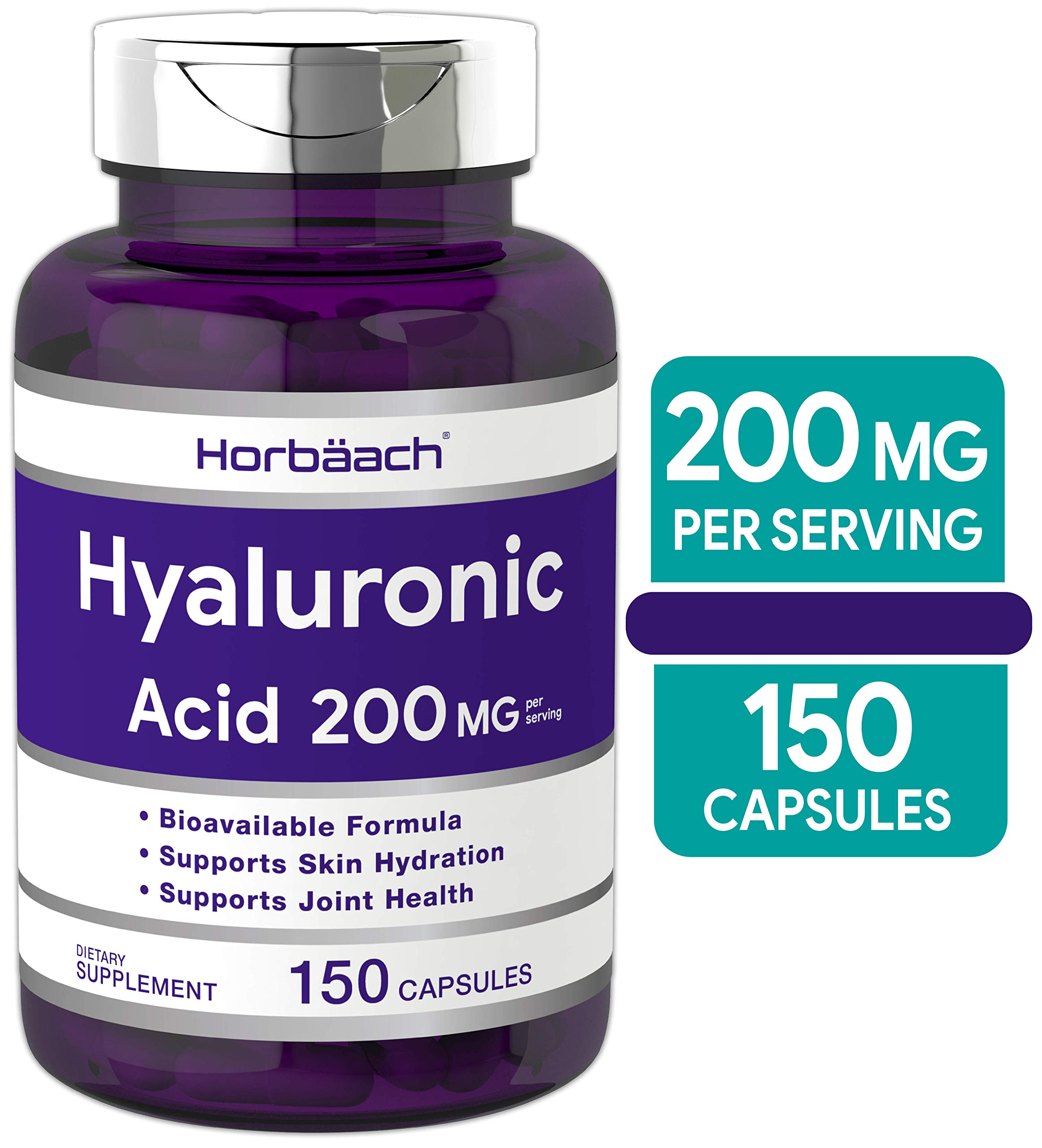 Horbaach Hyaluronic Acid 200 mg 150 Capsules | Supports Joint and Skin Hydration | Non-GMO & Gluten Free Supplement by Horbäach
