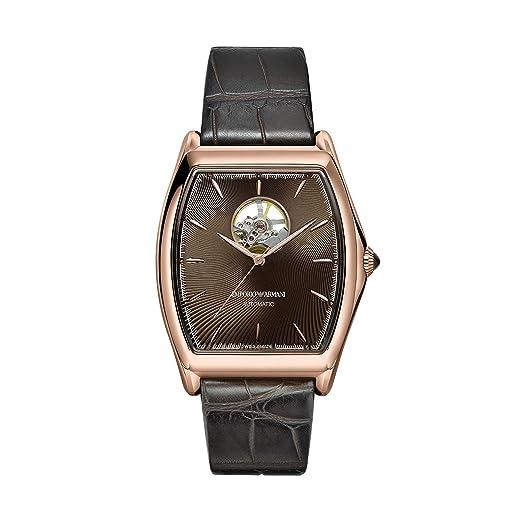 Emporio Armani Reloj Analógico para Hombre de Automático con Correa en Cuero ARS3355: Amazon.es: Relojes