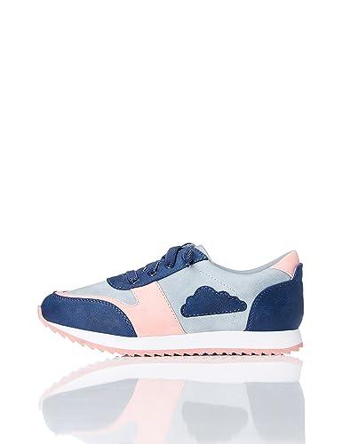 RED WAGON Mädchen Sneaker mit Wolkenmotiv, Blau (Blue/Pink), 34.5 EU