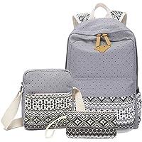 Abshoo Canvas Dot Backpack Cute Teen Girls Backpacks Set 3 Pcs School Bookbags