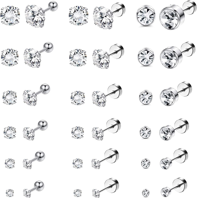 Subiceto 18 Pairs 18G Stainless Steel Stud Earrings for Men Women Screwback Cartilage Ear Piercings Flatback Tragus Helix Barbell CZ 3-8mm