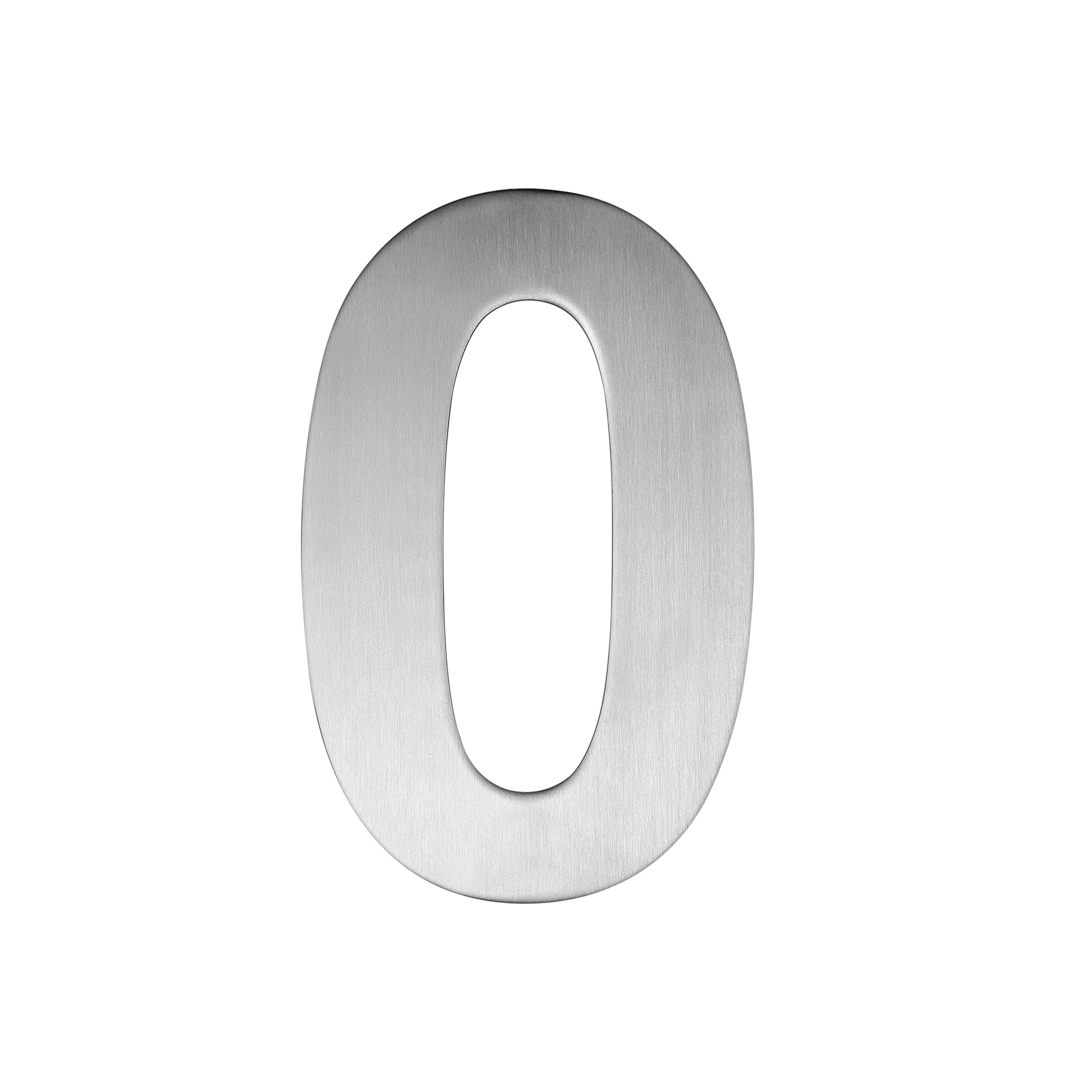QT Modern House Number - SUPER LARGE 12 Inch - Brushed Stainless Steel (Number 0 Zero), Floating Appearance, Easy to install and made of solid 304
