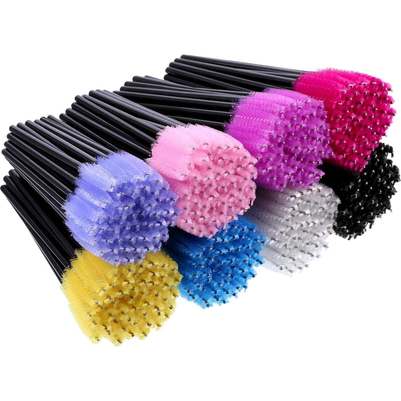 eBoot 400 Pieces Multicolored Disposable Mascara Wands Eyelash Brush Makeup Applicators Cosmetic Kit, 8 Colors