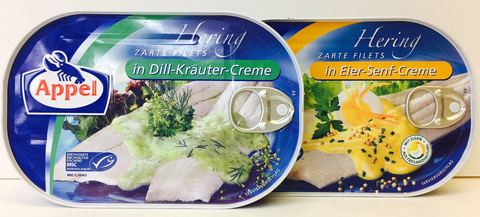 Appel 7.05-Ounce German Herring Fillets Variety Pack of 2 Flavors – in Dill-Krauter-Creme and in Eier-Senf-Creme