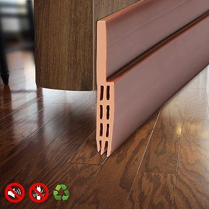 Under Door Draft Excluder Self Adhesive Draught Excluder Door Bottom Seal Strip Soundproof Rubber Door Insulation Strip 2 W X 39 L Brown