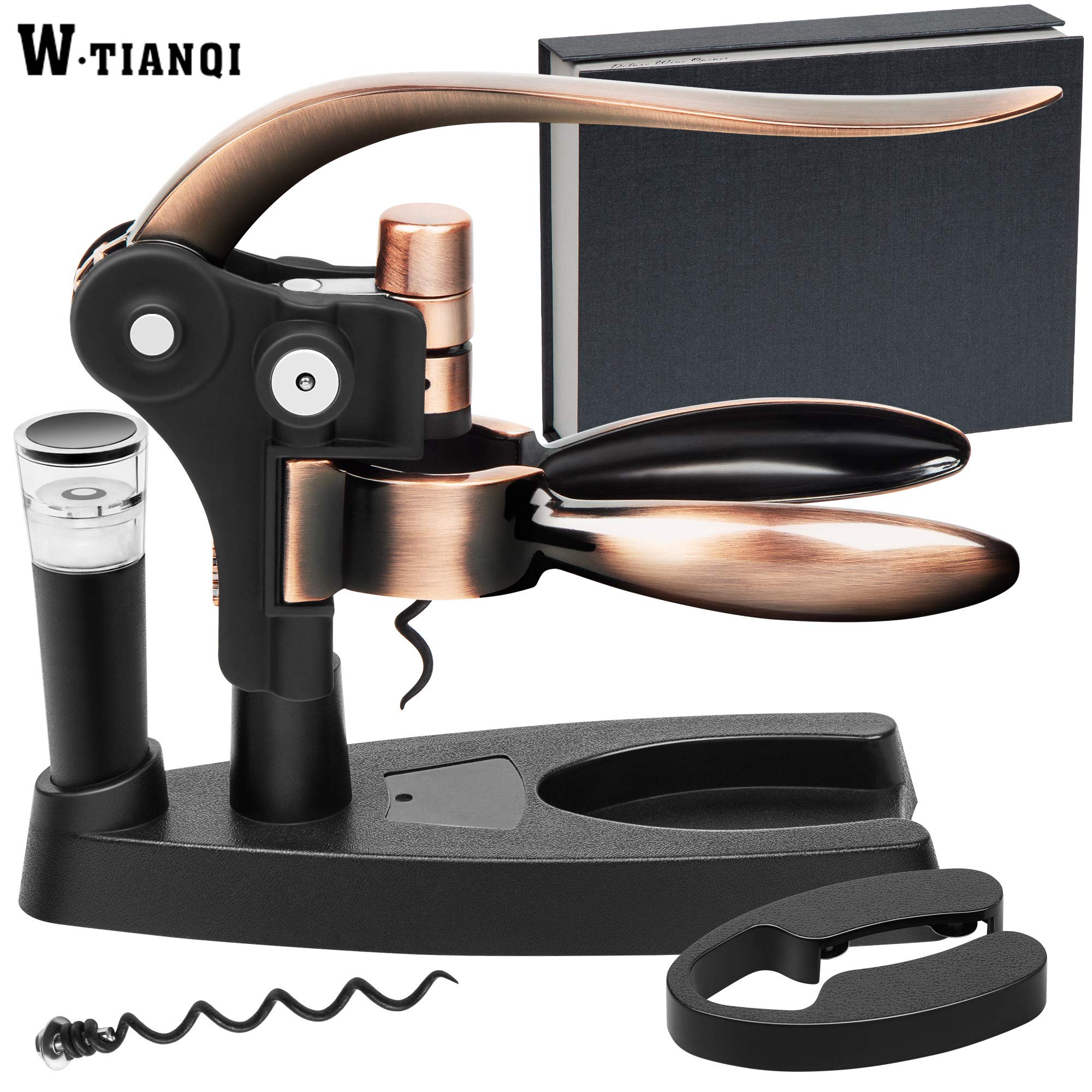 WTIANQI Wine Bottle Opener Set Rabbit Corkscrew Gift Box Stylish Screwpull Lever Wine kitchen decor with foil cutter extra spiral worm and vacuum pump&stopper