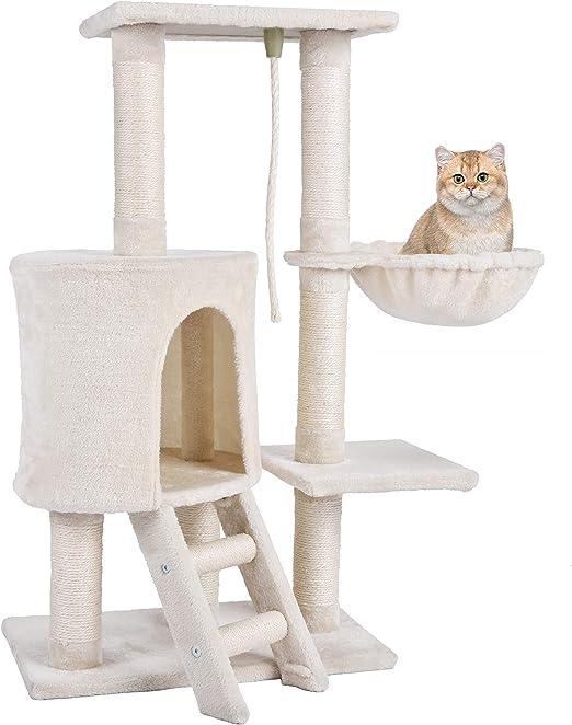 Mcdear Árbol de Gato Rascador Árbol Trepador Sisal Felpa con Hamaca y Cuerda 96 cm Beige: Amazon.es: Productos para mascotas
