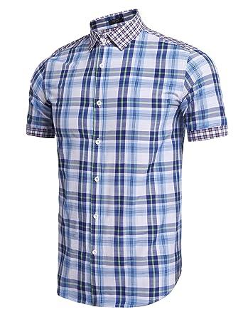 8c907ac5927 Coofandy Men's Casual Plaid Shirt Slim Fit Light Weight Short Sleeve Button  Down Shirt