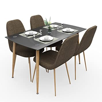 Forzza Logan Four Seater Dining Table Set (Beige)
