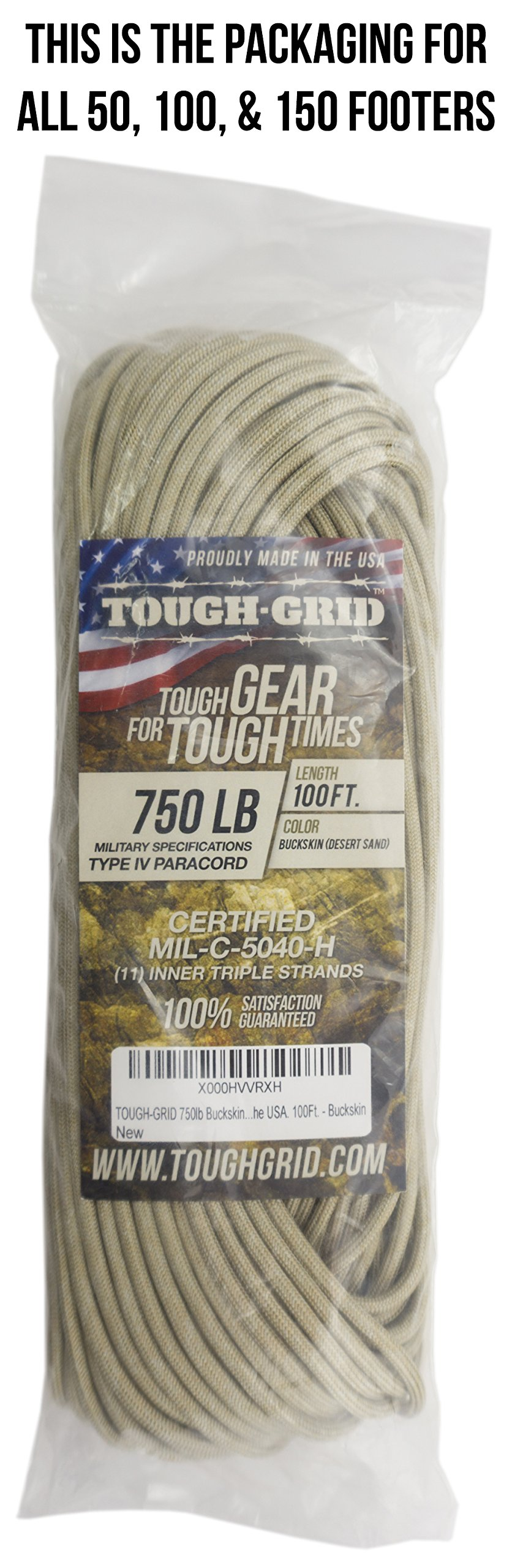TOUGH-GRID 750lb Buckskin (Desert Sand) Paracord/Parachute Cord - Genuine Mil Spec Type IV 750lb Paracord Used by The US Military (MIl-C-5040-H) - 100% Nylon - Made in The USA. 500Ft. - Buckskin by TOUGH-GRID (Image #5)