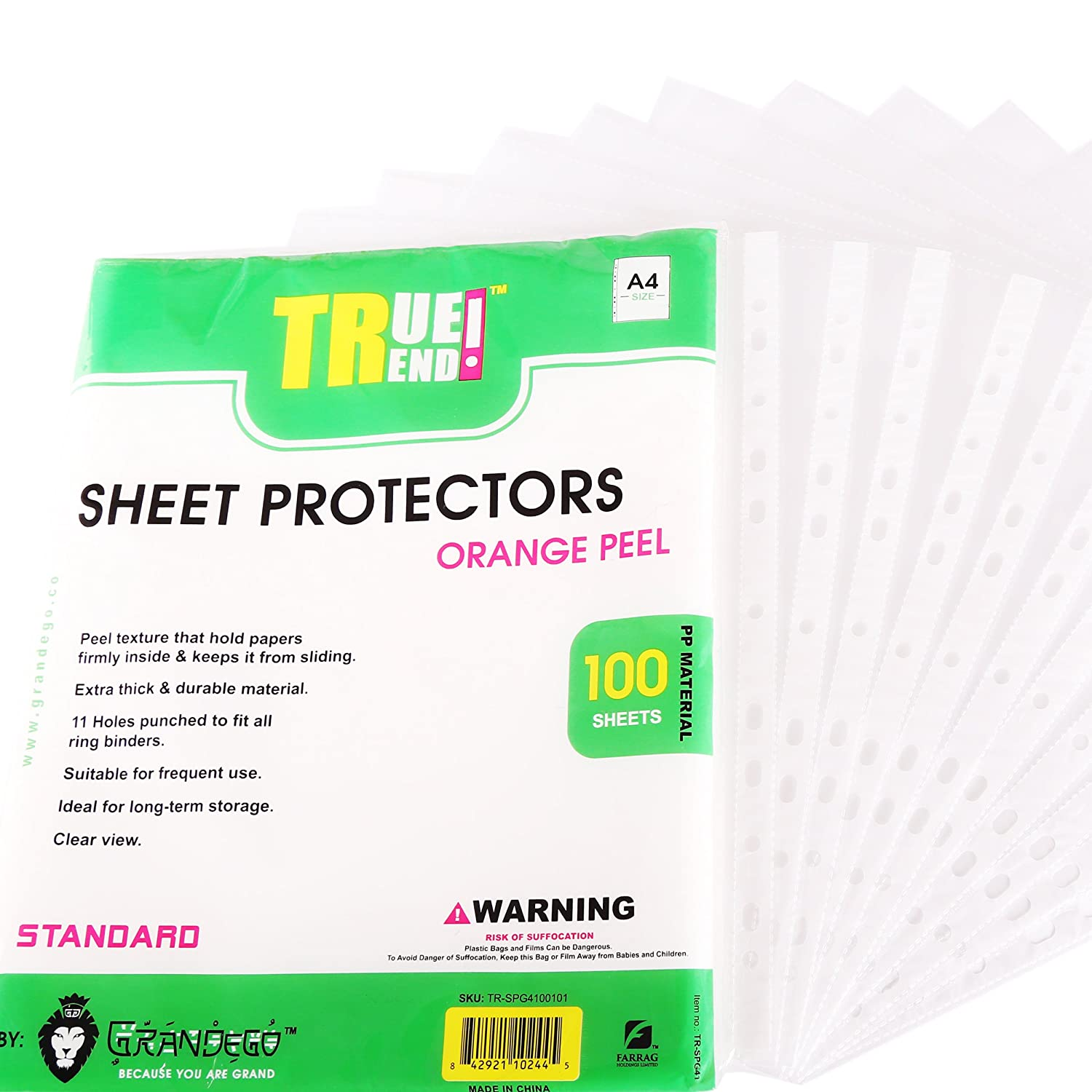 TRUETREND Clear Heavyweight Sheet Protectors | Bulk Box of 50 Sheets - 11 Reinforced Binder Ready Holes - Great for Document Storage, Reports and Presentations - Crystal Clear + A4 Size GRANDEGO