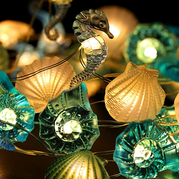 Sea String Lights, Beach Ocean Nautical Theme Seashell Seahorse Decorative Lighting, 9.8 Ft 40 LEDs Battery and USB Plug-in Operated with Remote and Timer for Party Indoor Outdoor Tent Wedding Bedroom