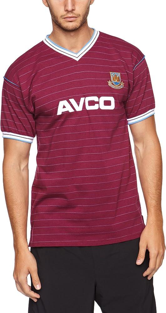 Score Draw Official Retro West Ham - Camiseta de fútbol para Hombre, tamaño M, Color Burdeos/Azul: Amazon.es: Deportes y aire libre
