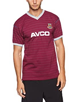 8db9a1b3363 Score Draw Official Retro West Ham United 1986 Men's Football Shirt -  Claret/Sky,